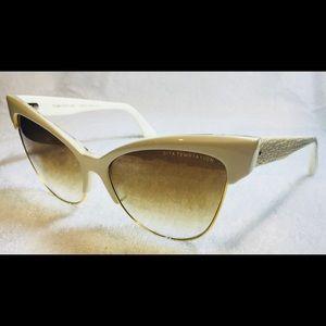 Dita Temptation Cateye Sunglasses Cream/18K Gold